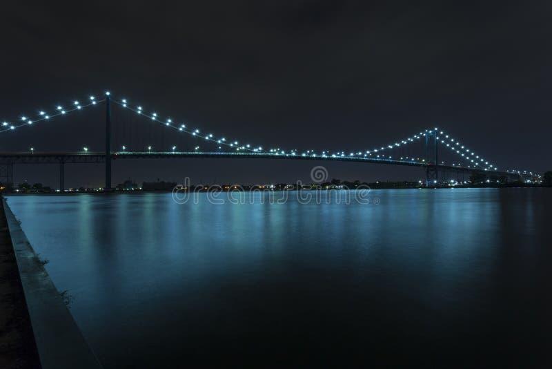 Ambassador Bridge. Connecting Windsor, Ontario to Detroit Michigan at night royalty free stock photo