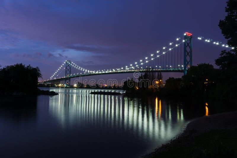 Ambassador Bridge. The bridge that links Windsor, Canada to Detroit, USA stock photos