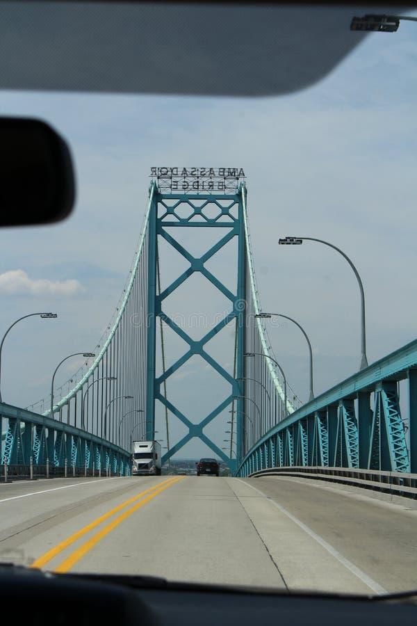 Ambassador Bridge. Is a 2286 meter long suspension bridge across the Detroit River connecting Detroit, Michigan and Windsor, Ontario, Canada. The bridge was stock images