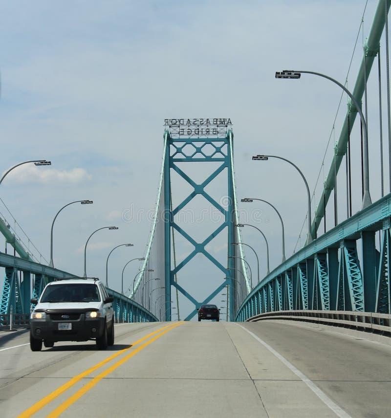 Ambassador Bridge. Is a 2286 meter long suspension bridge across the Detroit River connecting Detroit, Michigan and Windsor, Ontario, Canada. The bridge was royalty free stock image