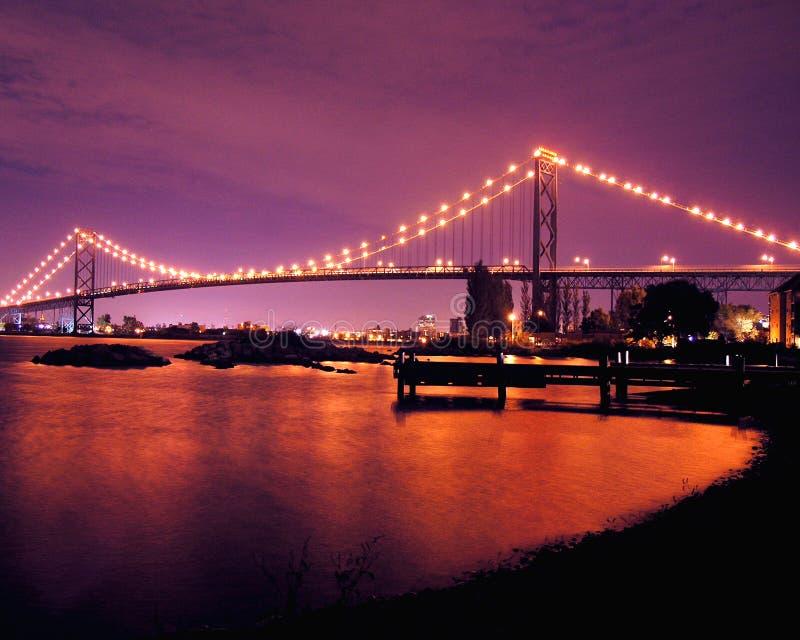 Ambassador Bridge Night Lights. Detroit, Ambassador Bridge, Night, Lights, Water, River, Windsor, City, Ladscape stock photos