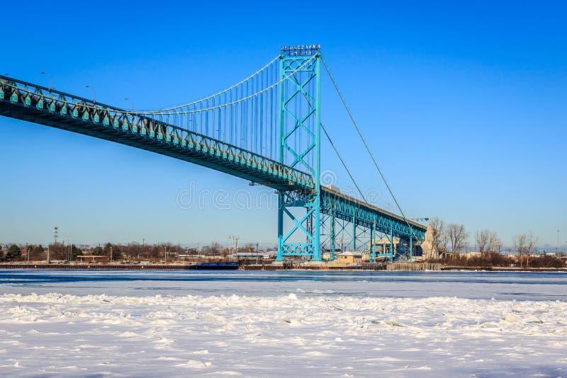 Ambassador Bridge. Wintery view of the Ambassador Bridge over Detroit River royalty free stock photo
