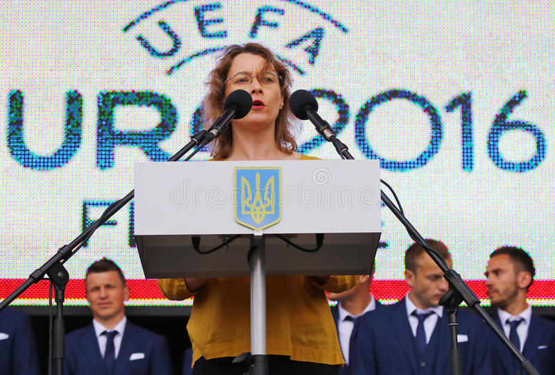 Ambassador of France to Ukraine Isabelle Dumont. KYIV, UKRAINE - MAY 22, 2016: Ambassador of France to Ukraine Isabelle Dumont gives a speech during the Ceremony royalty free stock image