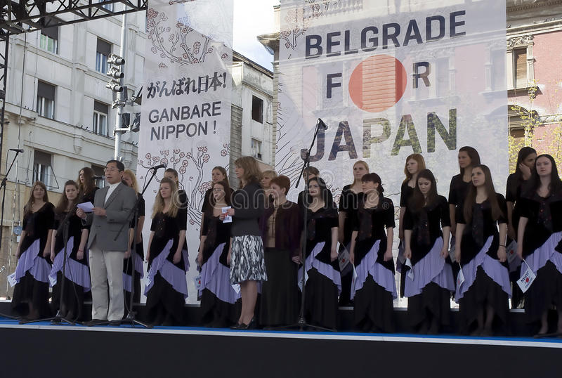 Ambassador of Japan in Belgrade Tosio Cunozaki. BELGRADE-APRIL 10.Belgrade for Japan,Support for the people of Japan after the earthquake and tsunami:Speech by stock image