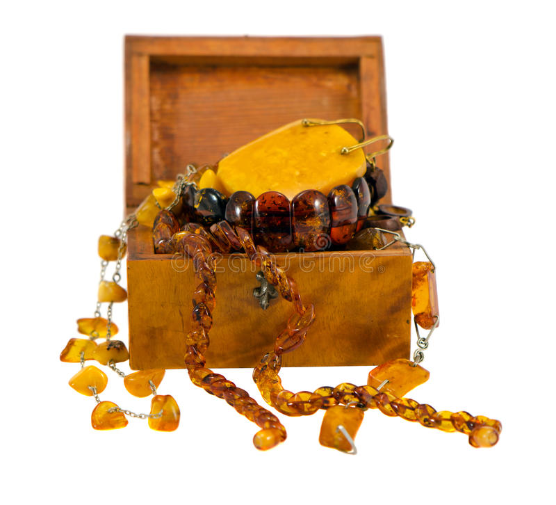 Amber Apparel Jewelry Retro Wooden Box On White Stock Photography