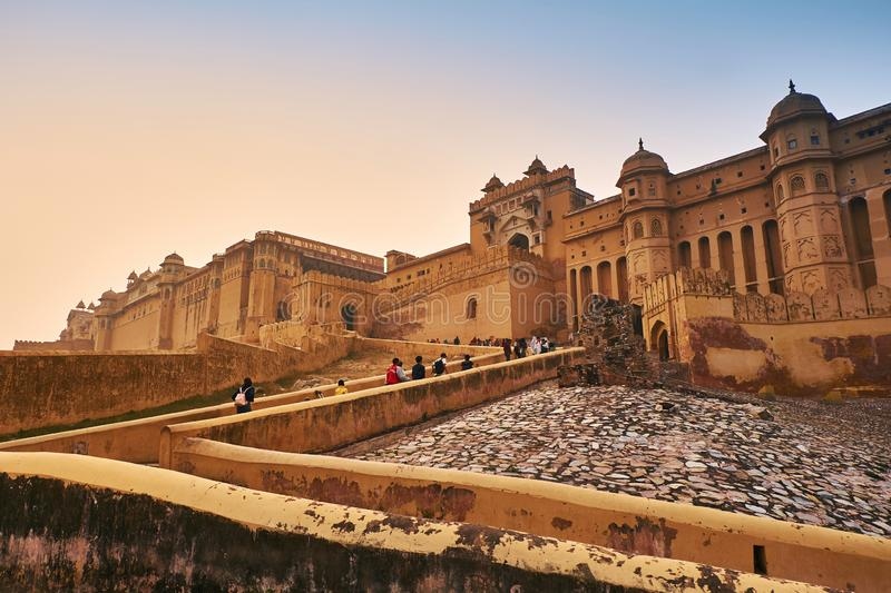 Amber Fort or Amer Fort in Jaipur, India. Mughal architecture medieval fort made of yellow sandstone stock image