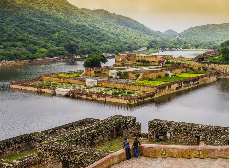 Amber fort gardens, Jaipur, India stock photography
