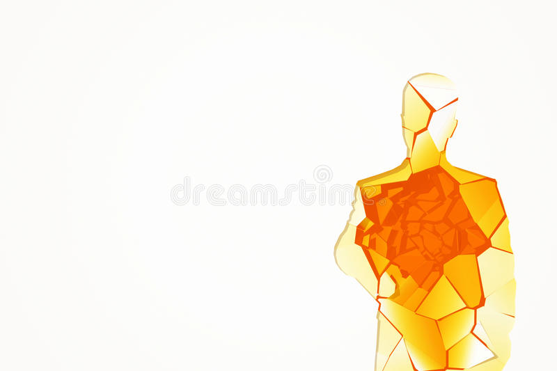 Amber glass human figure. Abstract shattered amber glass human figure on white background with copy space. 3D Rendering royalty free illustration