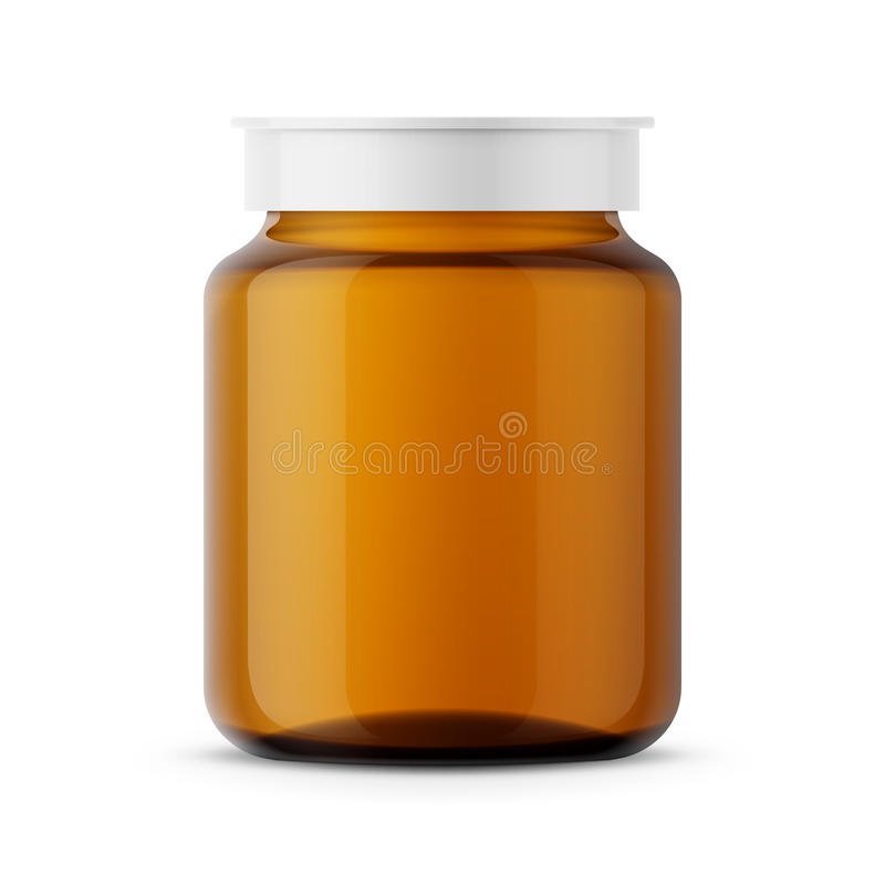 Amber glass medicine bottle template. royalty free illustration