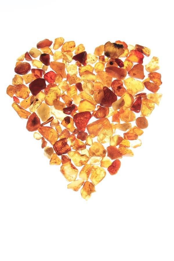 Amber heart stock photography