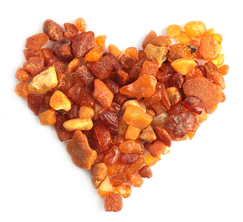 Amber heart royalty free stock image