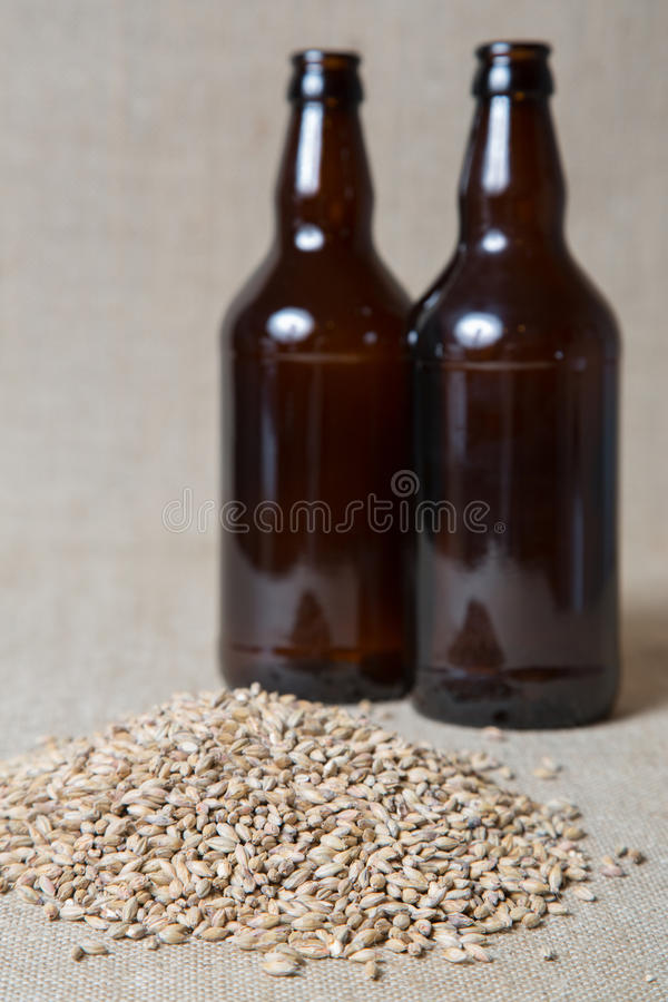 Download Amber Malt and bottles stock photo. Image of homebrew - 31425228