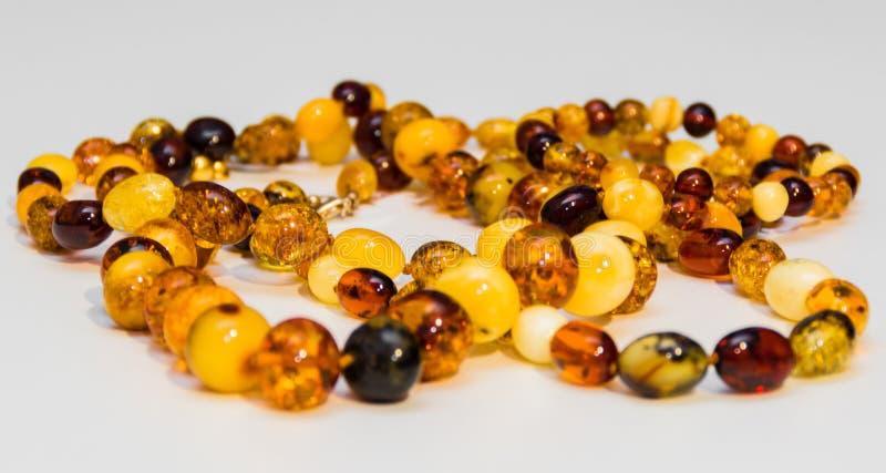 Amber Necklaces, lokalisierter Gegenstand stockfoto