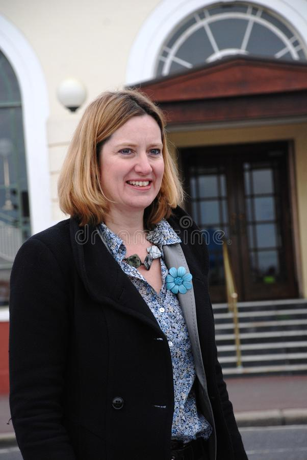 Amber Rudd. Conservative party Member of Parliament for Hastings and Rye, attends a fund raising event on the seafront at Hastings in East Sussex, England on royalty free stock photo