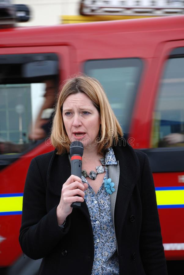 Amber Rudd. Conservative party Member of Parliament for Hastings and Rye, speaks at a fund raising event on the seafront at Hastings in East Sussex, England on royalty free stock images