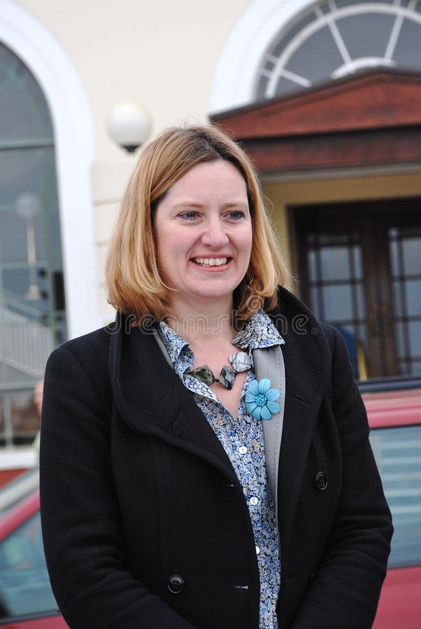 Amber Rudd. Conservative party Member of Parliament for Hastings and Rye, attends a charity event on the seafront at Hastings in East Sussex,England on March stock photography