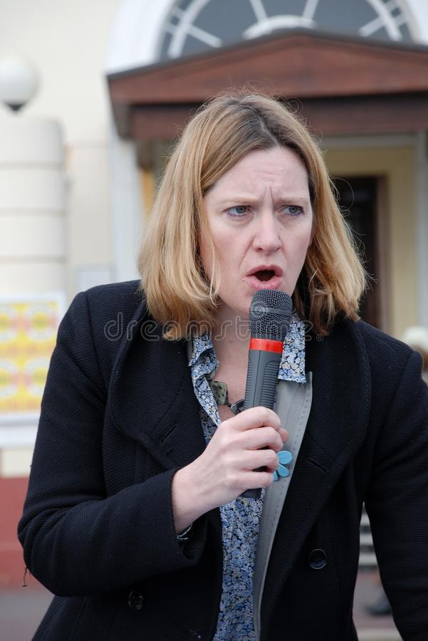 Amber Rudd. Conservative party Member of Parliament for Hastings and Rye, attends a charity event on the seafront at Hastings in East Sussex,England on March stock photos