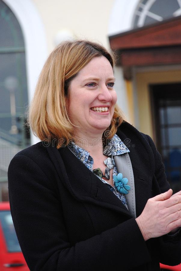 Amber Rudd in Hastings. Amber Rudd, Conservative party Member of Parliament for Hastings and Rye, attends a fund raising event for the Victorian pier at Hastings stock photo
