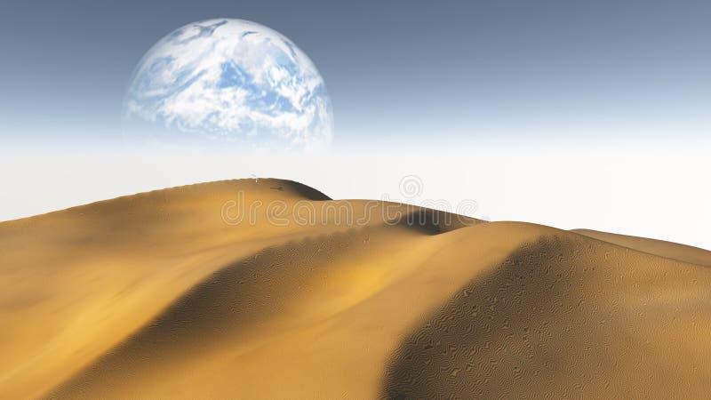 Amber Sand Desert med månen eller jord vektor illustrationer