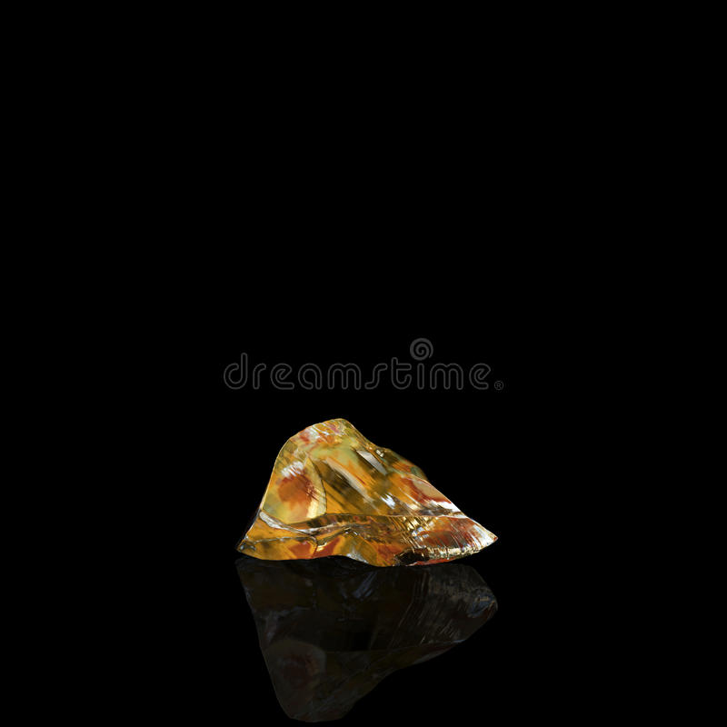 Amber Stone On Black Background brillante illustration de vecteur