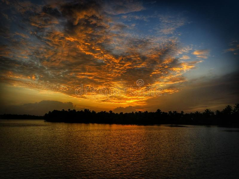 Amber sunset royalty free stock image