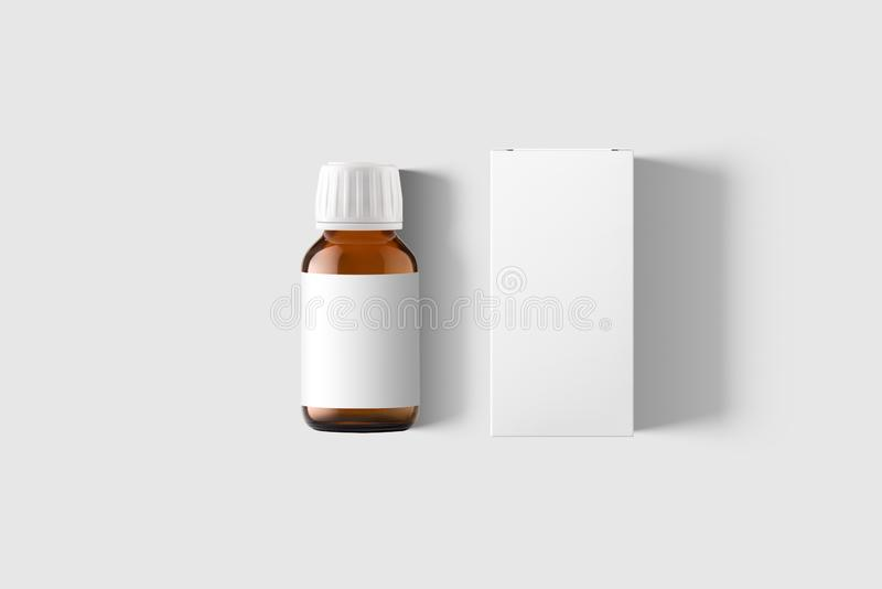 Amber Supplement Bottle & Box Mockup on light grey background. royalty free stock images