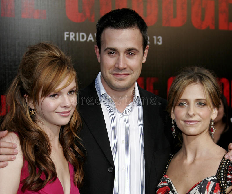Amber Tamblyn, Sarah Michelle Gellar and Freddie Prinze Jr. At the Los Angeles premiere of `The Grudge 2` held at the Knott`s Scary Farm in Buena Park, United stock photography