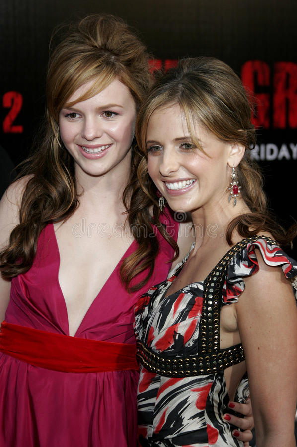 Amber Tamblyn and Sarah Michelle Gellar. At the Los Angeles premiere of `The Grudge 2` held at the Knott`s Scary Farm in Buena Park, United States on October 8 royalty free stock photo