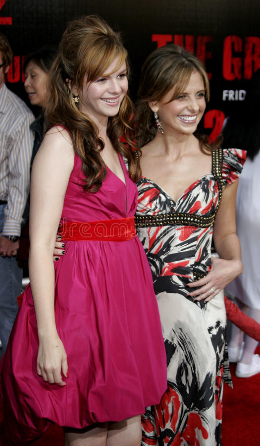 Amber Tamblyn and Sarah Michelle Gellar. At the Los Angeles premiere of `The Grudge 2` held at the Knott`s Scary Farm in Buena Park, United States on October 8 stock photos