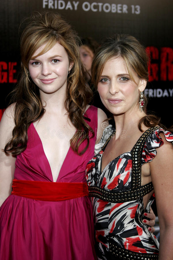 Amber Tamblyn and Sarah Michelle Gellar. At the Los Angeles premiere of `The Grudge 2` held at the Knott`s Scary Farm in Buena Park, United States on October 8 stock photography