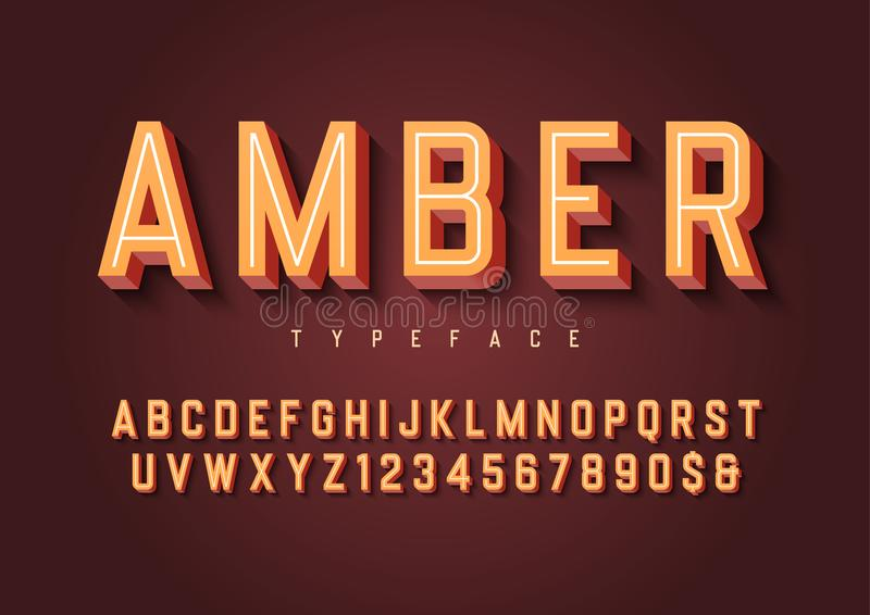 Amber trendy inline vintage display font design, alphabet, typeface, letters and numbers, typography. Swatch color control stock illustration