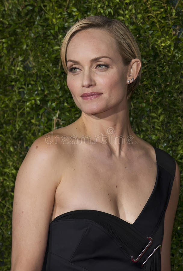 Amber Valletta Arrives at the 2015 Tony Awards. Model Amber Valletta wearing a black one-shoulder gown by Anthony Vaccarello arrives on the red carpet for the royalty free stock photos