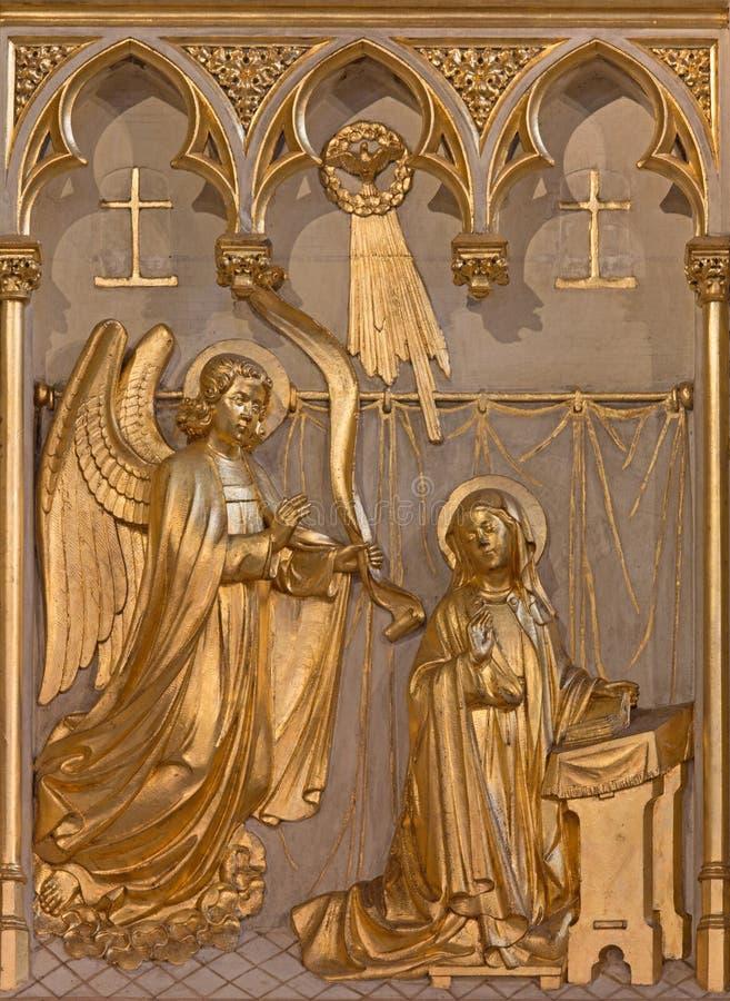 Amberes - alivio del anuncio a partir. del centavo el 19. en el altar de Joriskerk o de la iglesia de San Jorge imágenes de archivo libres de regalías