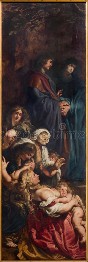 Amberes - el panel dejado del aumento del tríptico de la cruz (1609 - 1610) por el pintor barroco Peter Paul Rubens en la catedral imágenes de archivo libres de regalías