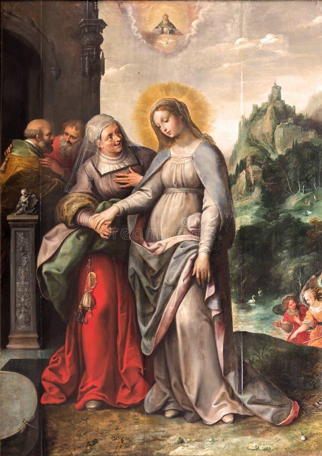 Amberes - el Visitation de la Virgen María a Elizabeth de Frans Francken (1581 - 1642) en la iglesia de Pauls del santo foto de archivo libre de regalías