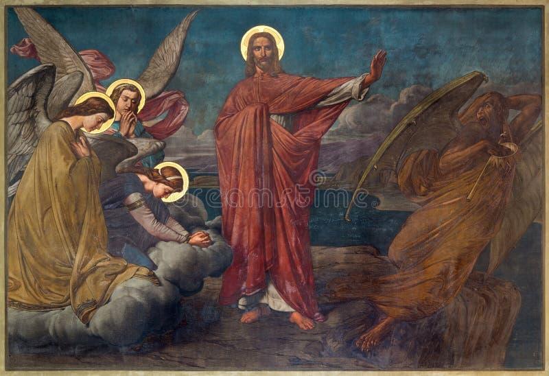 Amberes - fresco de la tentación de Jesús en la iglesia de Joriskerk o de San Jorge a partir. del centavo el 19. fotografía de archivo