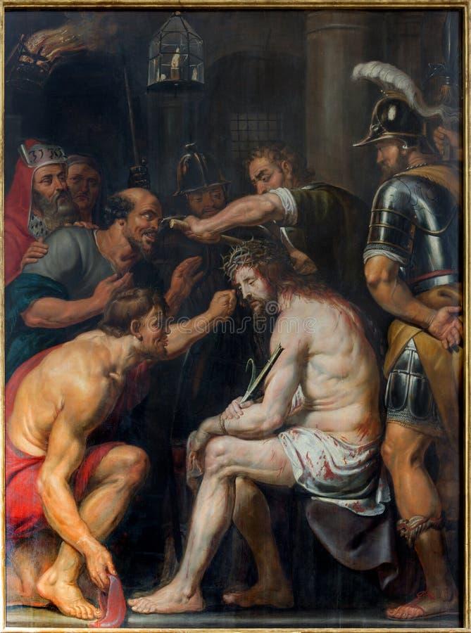 Amberes - la tortura de la pintura de Jesús de Antoon principal barroco de Bruyn en la iglesia del St. Pauls (Paulskerk) foto de archivo libre de regalías