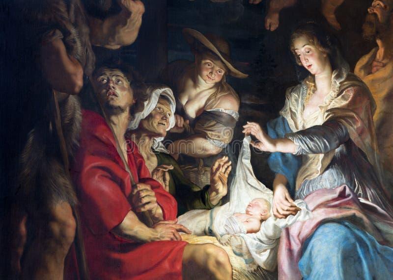 Amberes - parte central de pintura de la escena de la natividad del gran pintor barroco Peter Paul Rubens en la iglesia de Pauls  imagen de archivo