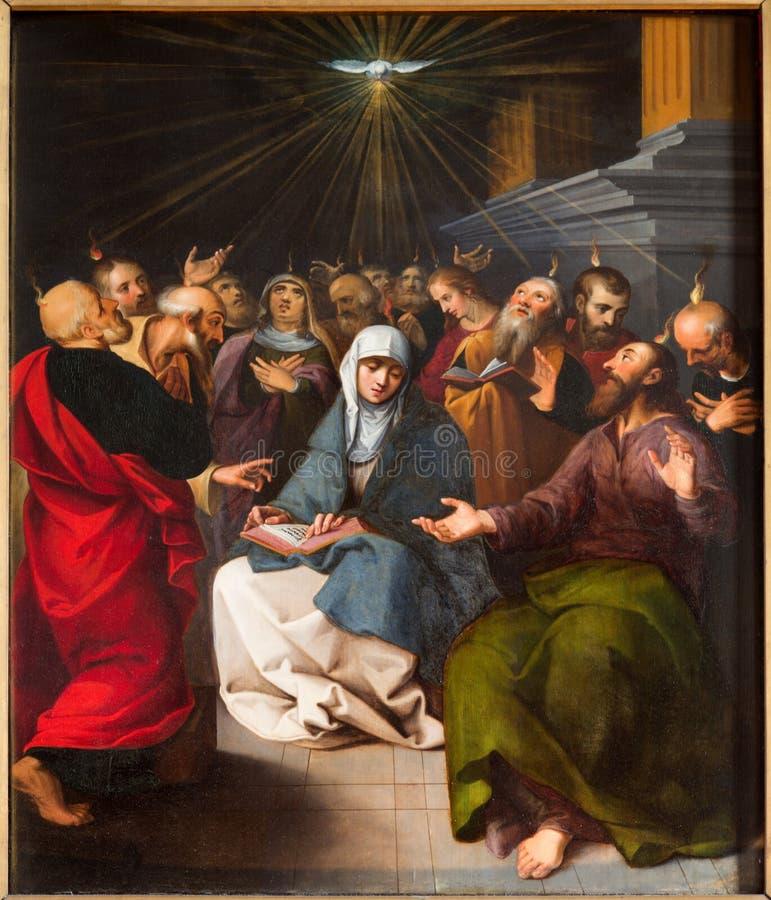 Amberes - pintura de la escena de Pentecostés de la catedral fotos de archivo