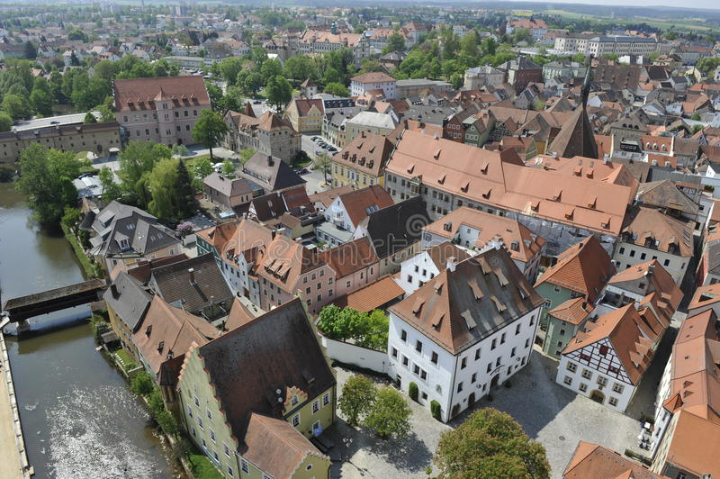 Amberg, Historical City. Historical city of Amberg, Bavaria, South-Germany, seen from the basilica's tower royalty free stock photography