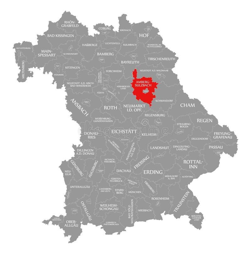 amberg okręgu administracyjnego czerwień podkreślająca w mapie Bavaria Niemcy royalty ilustracja
