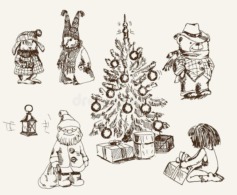 Ambiance magique de Noël illustration stock