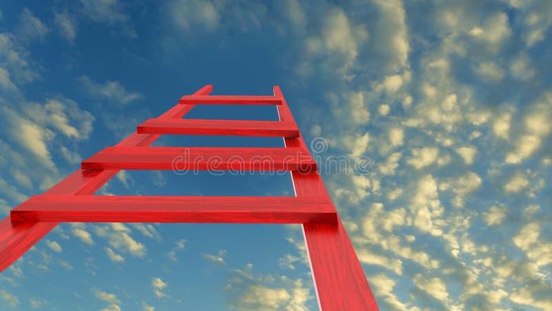 Ambición del futuro del desafío del éxito del cielo de la escalera - representación 3d stock de ilustración