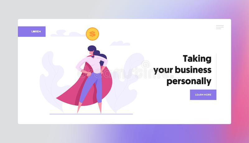 Ambicja Business Success Concept Landing Page with Superbohater Business Character with Dollar Sign ilustracji