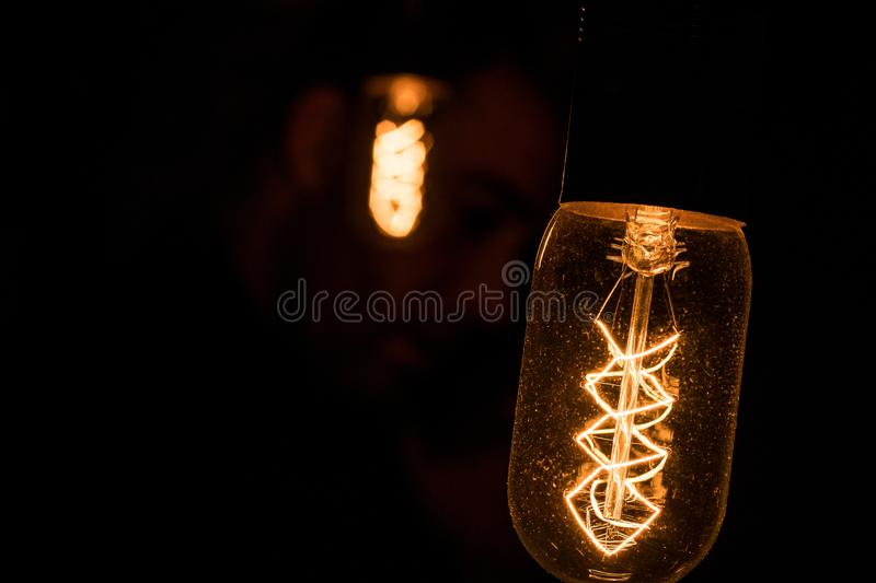 Ambient light bulbs. Beautiful yellow ambient light bulbs. Light bulbs royalty free stock images
