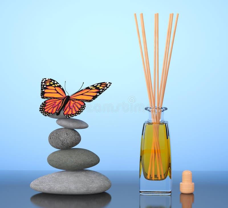 Ambientador de aire del Aromatherapy y piedras equilibradas con la mariposa 3 stock de ilustración