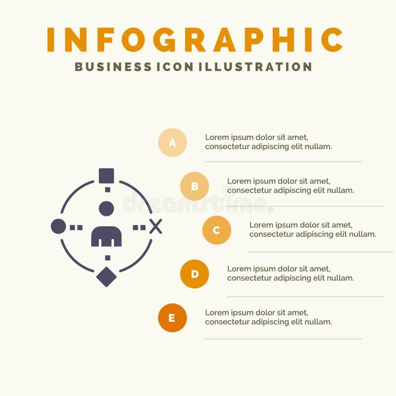 Ambiental, usuário, tecnologia, fundo contínuo da apresentação das etapas de Infographics 5 do ícone da experiência ilustração stock