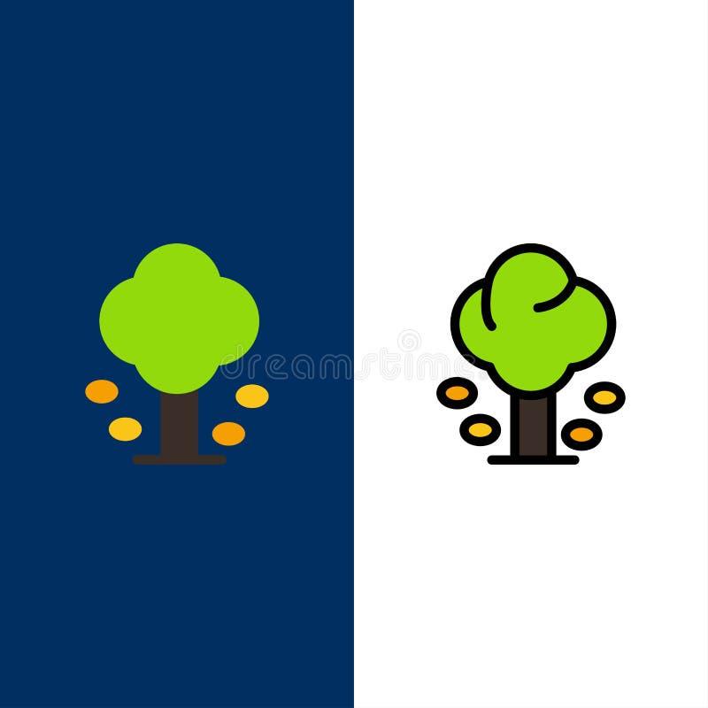 Ambiente, bosque, verde, verano, iconos del árbol El plano y la línea icono llenado fijaron el fondo azul del vector libre illustration