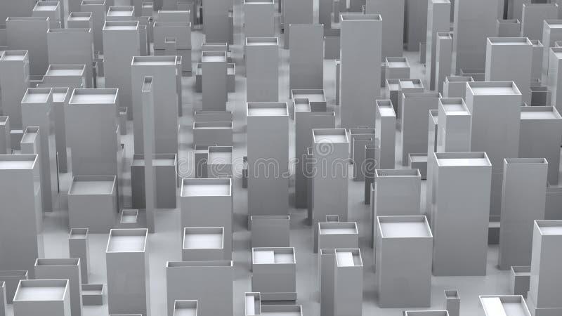 Ambiente cúbico abstracto de la ciudad - blanco libre illustration