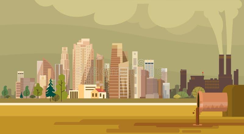 Ambiente contaminado sucio de las aguas residuales del tubo de la planta de la ciudad de la contaminación de la naturaleza stock de ilustración
